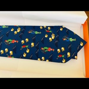 Hermes Silk Tie Scottish Bagpipe Sheep w/Box